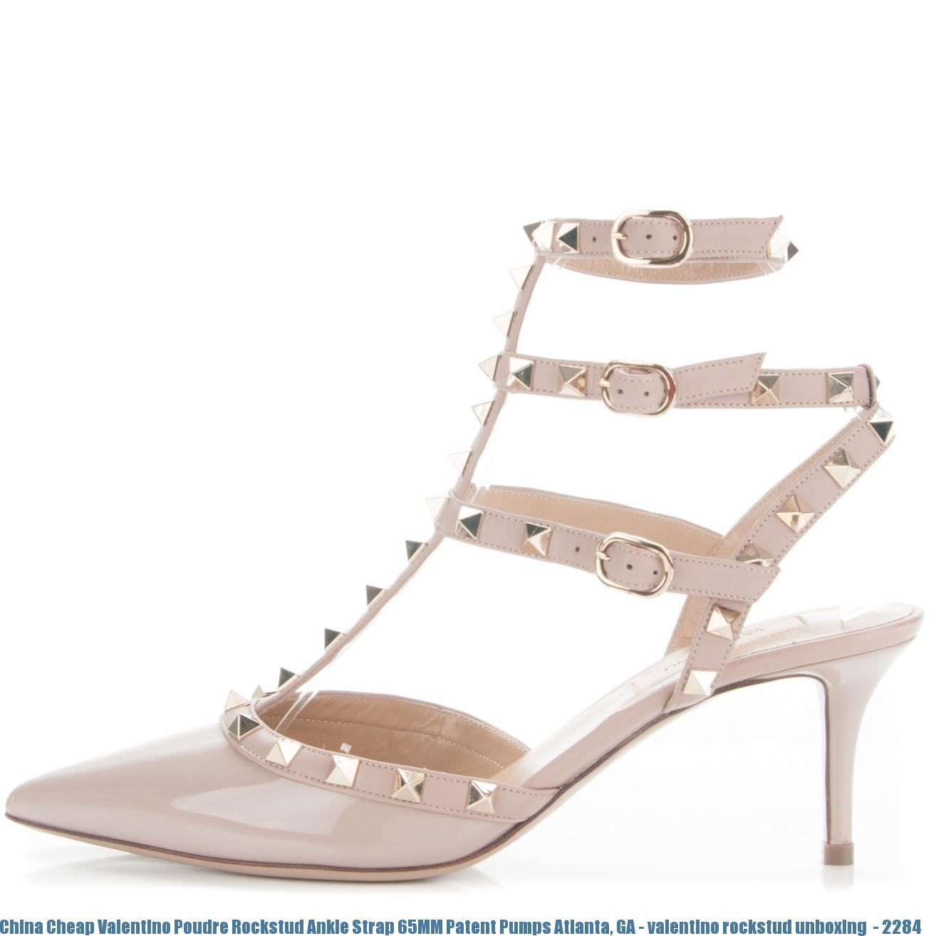 e4b8aeae8a06 China Cheap Valentino Poudre Rockstud Ankle Strap 65MM Patent Pumps ...