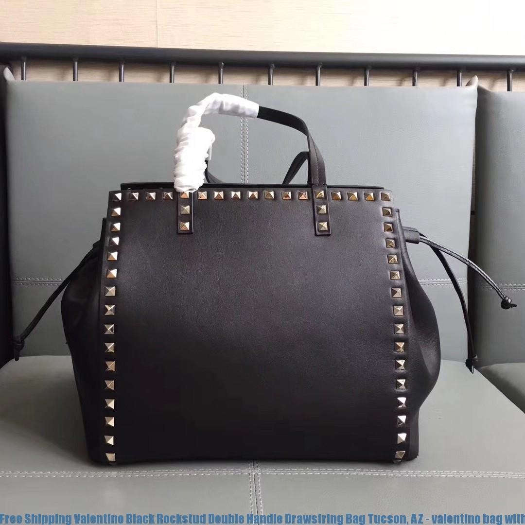 Free Shipping Valentino Black Rockstud Double Handle Drawstring Bag Tucson Az With Bow 1502