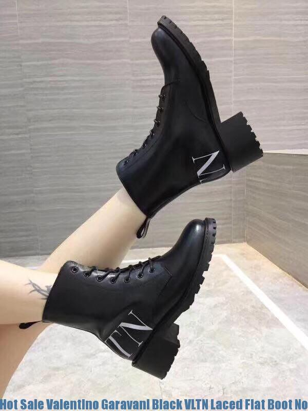 9a2a410c181 Hot Sale Valentino Garavani Black VLTN Laced Flat Boot Norfolk, VA -  valentino shoes run small - 2493