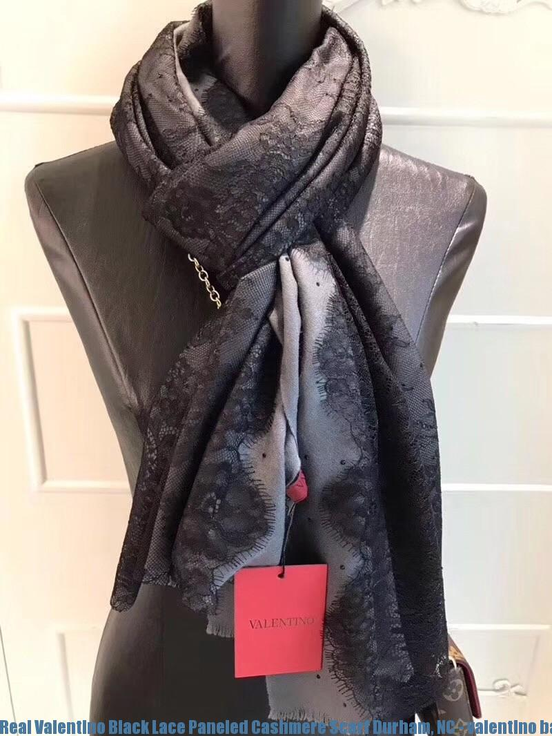 e339f484d Real Valentino Black Lace Paneled Cashmere Scarf Durham, NC - valentino  baby shoes - 1286